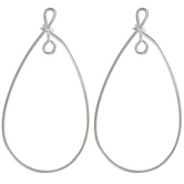 Sterling Silver Plated Teardrop Ear Wires - 30mm x 15mm