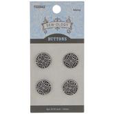 Silver Geometric Shank Buttons - 14mm