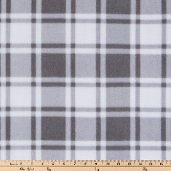 Gray & White Plaid Anti-Pill Fleece Fabric