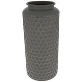 Gray Hexagon Metal Vase