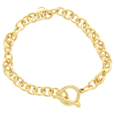 "18K Gold Plated Charm Bracelet - 7"""