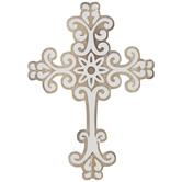 White Swirl Wood Wall Cross