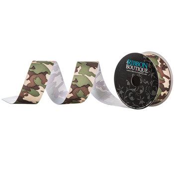"Green & Brown Camouflage Grosgrain Ribbon - 1 1/2"""
