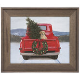 Red Truck & Dog Wood Wall Decor