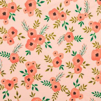 Blush Watercolor Rose Knit Fabric