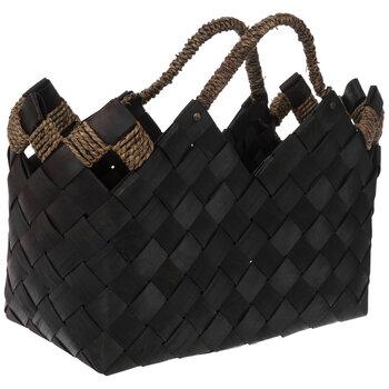 Dark Brown Woven Wood Basket