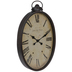 Oval Roman Numeral Metal Wall Clock