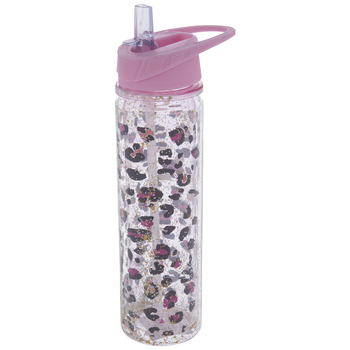 Pink Glitter Cheetah Print Water Bottle