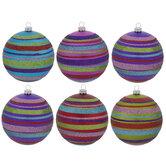 Bright Glitter Striped Ball Ornaments