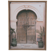 Door & Potted Palms Canvas Wall Decor