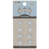 Silver Rhinestone Round Shank Buttons - 10mm