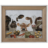 Cows At The Table Wood Wall Decor