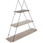 Three-Tiered Triangle Wood Wall Shelf