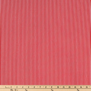 Red & White Striped Cotton Calico Fabric