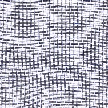 "Navy & White Woven Deco Mesh Ribbon - 10"""