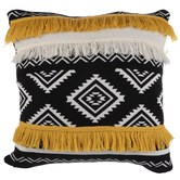 Mustard & Black Aztec Pillow Cover