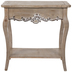 Whitewash Scalloped Wood Accent Table