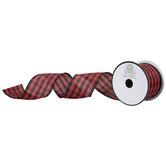 """Red & Black Small Buffalo Check Ribbon - 2 1/2"""""""