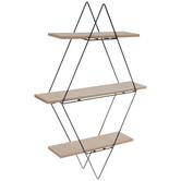 Diamond Three-Tiered Metal Wall Shelf