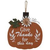 Give Thanks Pumpkin Wood Wall Decor