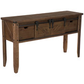 Brown Wood Console Table With Sliding Doors