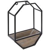 Black & Brown Geometric Metal Wall Basket