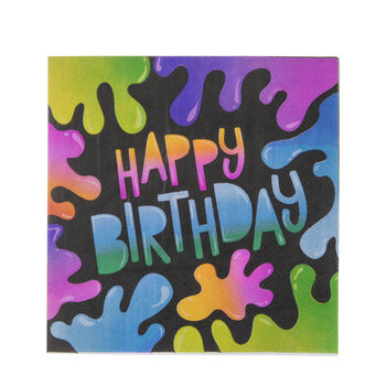 Slime Happy Birthday Napkins - Small