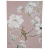 Pink Bird & Flowers Canvas Wall Decor