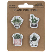 Green Potted Plant Wood Push Pins