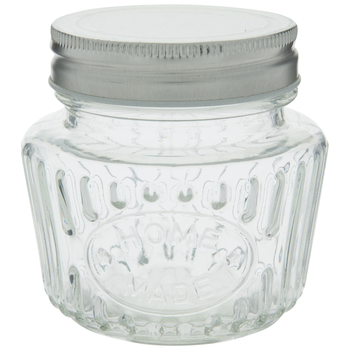 Home Made Ribbed Glass Mason Jar