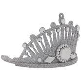 Silver Glitter Crown Ornament