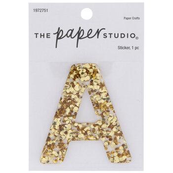 Gold Glitter Letter Sticker - A