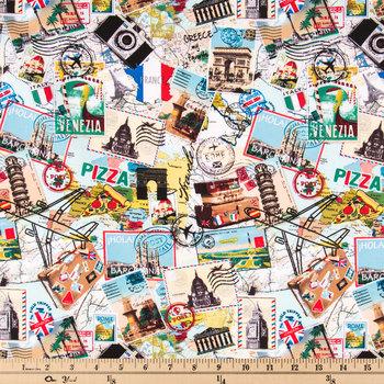 Travel Collage Cotton Calico Fabric