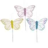 Pink, Yellow & Blue Glitter Mesh Butterflies