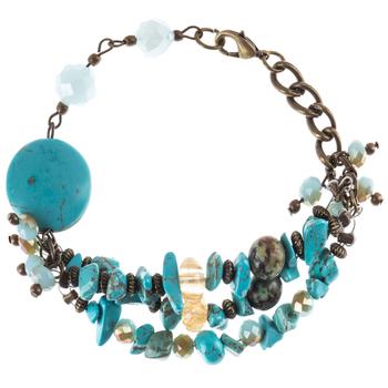 Turquoise Beaded Three-Strand Bracelet