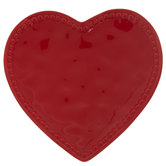 Red Textured Heart Plate