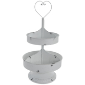 White Heart Metal Two-Tier Tray