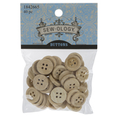 Natural Wood Round Buttons