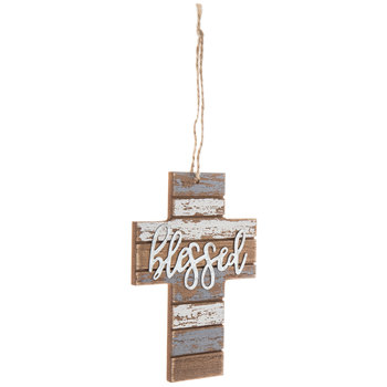 Blessed Distressed Wood Wall Cross