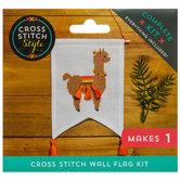 Alpaca Cross Stitch Wall Flag Kit