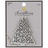 White Christmas Tree Wood Pendant