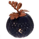 Copper & Navy Light Up Pumpkin
