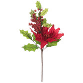 Red Poinsettia With Holly Pick