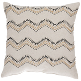 Beige Zigzag Embroidered Pillow