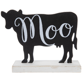 Moo Cow Silhouette Wood Decor