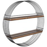 Black Metal Circle Two-Tiered Shelf