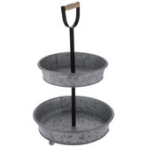 Galvanized Round Two-Tiered Metal Tray