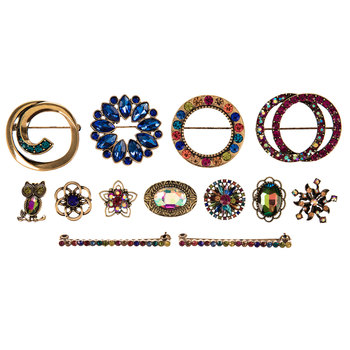 Multi-Color Rhinestone Brooch Value Pack