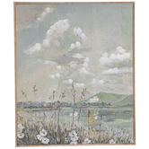 Flowers By The Lake Canvas Wall Decor