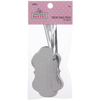 Silver Thank You Treat Bag Tags